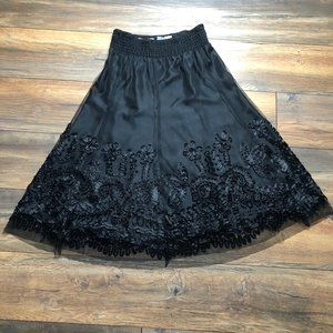 Peter Nygard Petite Skirt- Black Lace Overlay